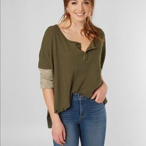3/$30 We The Free Distressed Star Henley Top